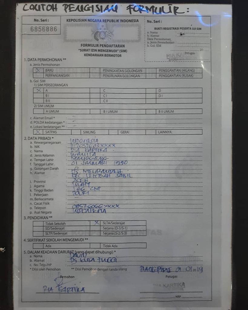 Contoh Pengisian Formulir Pendaftaran Surat Izin Mengemudi Sim Tribrata News Polres Aceh Barat Daya
